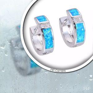 Jewelry - Blue Fire Opal CZ Hoop Earrings